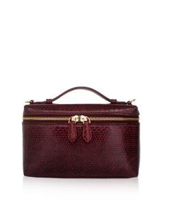Selena Sea Snake Leather Sling Bag , Size 20 , Burgundy