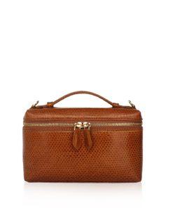 Selena Sea Snake Leather Sling Bag , Size 20 , Tan