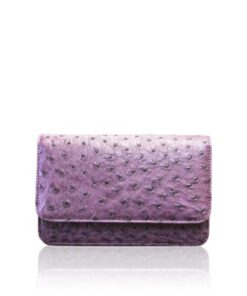 BARZAAR Purple Ostrich Leather Clutch Bag