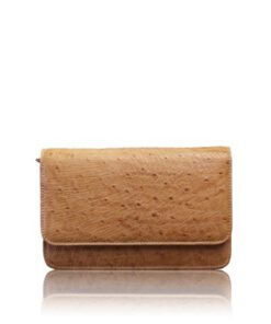 BARZAAR Tan Ostrich Leather Clutch Bag