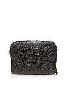 BRICK Crocodile Hornback Leather Sling Bag, Matte Black, Size 18 cm