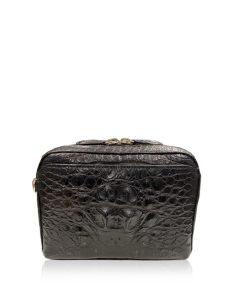 BRICK Crocodile Tail Leather Sling Bag, Matte Black, Size 18 cm