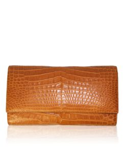 Crocodile Belly Leather Clutch Bag, LUANA, Tan, Size 28 cm