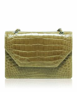 DIAMOND, Crocodile Belly Leather Sling Bag, Mustard, Size 20