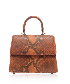 GOLDMAS Orange & Black Python Belly Handbag, Size 21