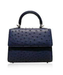 GOLDMAS Ostrich Leather, Dark Blue, Size 19