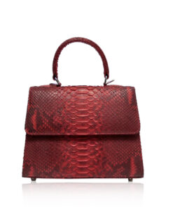 """GOLDMAS"" Red & Black Python Back Handbag, Size 21"