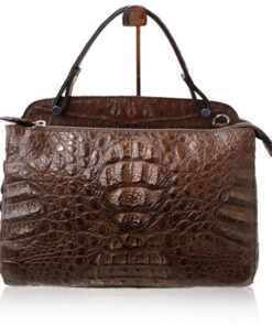 JIMMY Crocodile Hornback Leather Handbag, Matte Brown, Size 27
