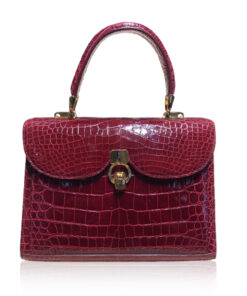 MONARCH Crocodile Leather Handbag , Shiny Wine, Size 24