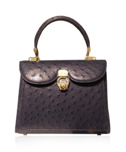 MONARCH Ostrich Leather Handbag , Black, Size 24