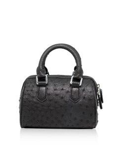 Ostrich Leather Handbag PILLODY, Black, Size 18 cm
