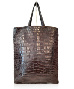 Peter Bag Crocodile Leather Shopping Bag, Matte Brown