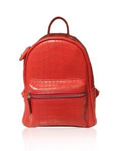 RENNY Crocodile Backpack , Size 21, Matte Red