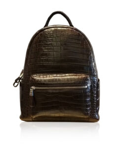 RENNY Crocodile Backpack , Size 33, Matte Brown