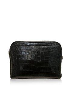 BRICK Crocodile Belly Leather Sling Bag, Matte Black, Size 20 cm