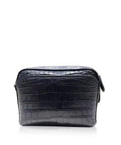 BRICK Crocodile Belly Leather Sling Bag, Matte Blue, Size 20 cm
