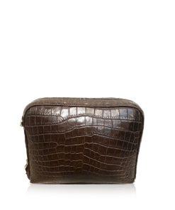 BRICK Crocodile Belly Leather Sling Bag, Matte Brown, Size 20 cm