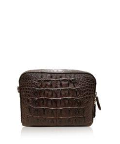 BRICK Crocodile Hornback Leather Sling Bag, Matte Brown, Size 18 cm