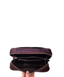 BRICK Crocodile Hornback Leather Sling Bag, Matte Modo, Size 18 cm