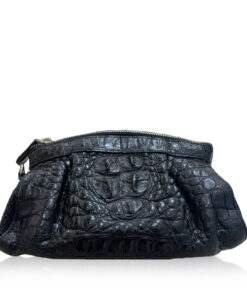 CANIS Crocodile Hornback Leather Clutch Bag, Matte Black, Size 26 cm