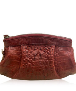 CANIS Crocodile Hornback Leather Clutch Bag, Matte Burgundy, Size 26 cm