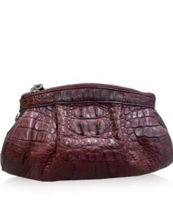 CANIS Crocodile Hornback Leather Clutch Bag, Matte Modo, Size 26 cm