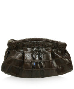 CANIS Crocodile Tail Leather Sling Bag, Matte Brown, Size 26 cm