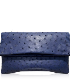 DAISY Ostrich Leather Sling Bag, Blue, Size 28