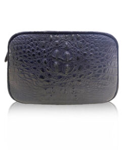 """DORADO"" Crocodile Hornback Leather Sling Bag, Matte Blue, Size 21"