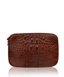 """DORADO"" Crocodile Hornback Leather Sling Bag, Matte Modo, Size 21"