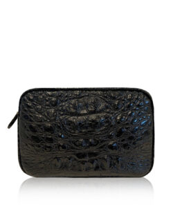 """DORADO"" Crocodile Hornback Leather Sling Bag, Matte Black, Size 21"