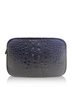 """""""DORADO"""" Crocodile Hornback Leather Sling Bag, Matte Blue, Size 21"""