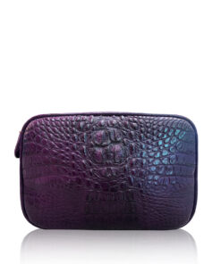 """DORADO"" Crocodile Hornback Leather Sling Bag, Matte Dark Purple, Size 21"