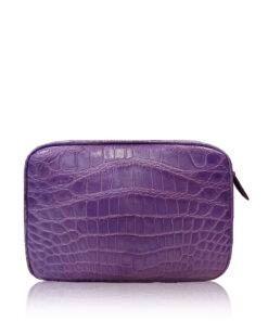 """DORADO"" Crocodile Belly Leather Sling Bag, Matte Light Purple, Size 21"
