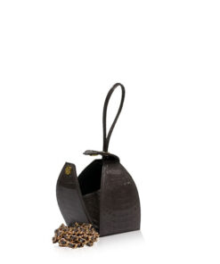 MARIA Shiny Brown Cobra Belly Sling Bag, Size 8.5 cm