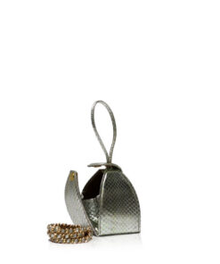 """BABY MARIA"" Silver & Gold Shiny Cobra Back Sling Bag, Size 8.5 cm"