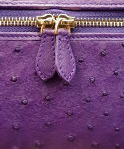 Ostrich Leather Sling Bag SELENA , Purple, Size 20