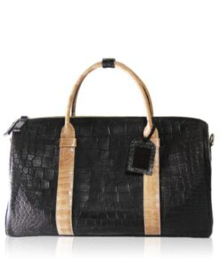 Travel Bag, crocodile Belly Leather, Black & Beige, Size 56 cm