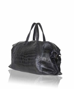 Travel Bag, crocodile Belly Leather, Black, Size 56 cm