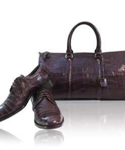 Travel Bag, crocodile Belly Leather, Burgundy, Size 56 cm