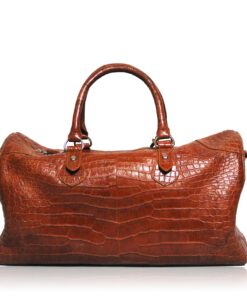 Travel Bag, crocodile Belly Leather, Tan, Size 56 cm