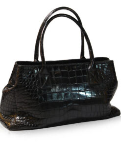 """DOCTOR"" Crocodile Belly Leather Shoulder Bag, Black, Size 55 cm"