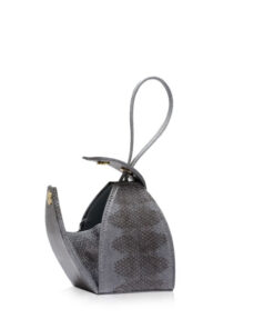 """BABY MARIA"" Grey & Black Sea Snake Sling Bag, Size 8.5 cm"