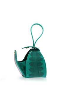 """BABY MARIA"" Light Green & Black Sea Snake Sling Bag, Size 8.5 cm"