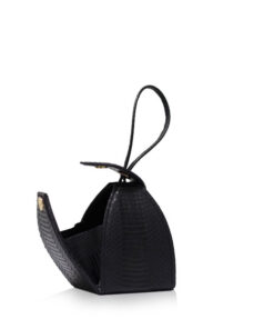 """BABY MARIA"" Matte Black Cobra Belly Sling Bag, Size 8.5 cm"