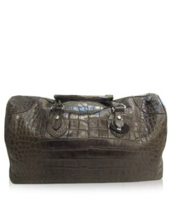 Travel Bag, Crocodile Belly Leather, Black, Size 57 cm