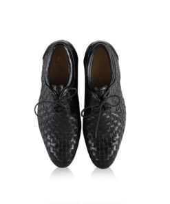 Calf Knitted Leather Lace Up Shoes, Black