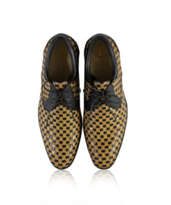 Calf Knitted Leather Lace Up Shoes, Black & Beige