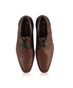 Calf Knitted Leather Lace Up Shoes, Brown