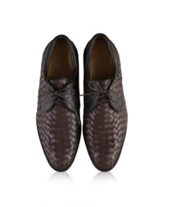 Calf Knitted Leather Lace Up Shoes, Dark Brown